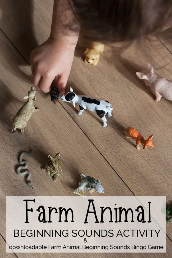 Farm Animal Beginning Sounds Activity and Bingo Game