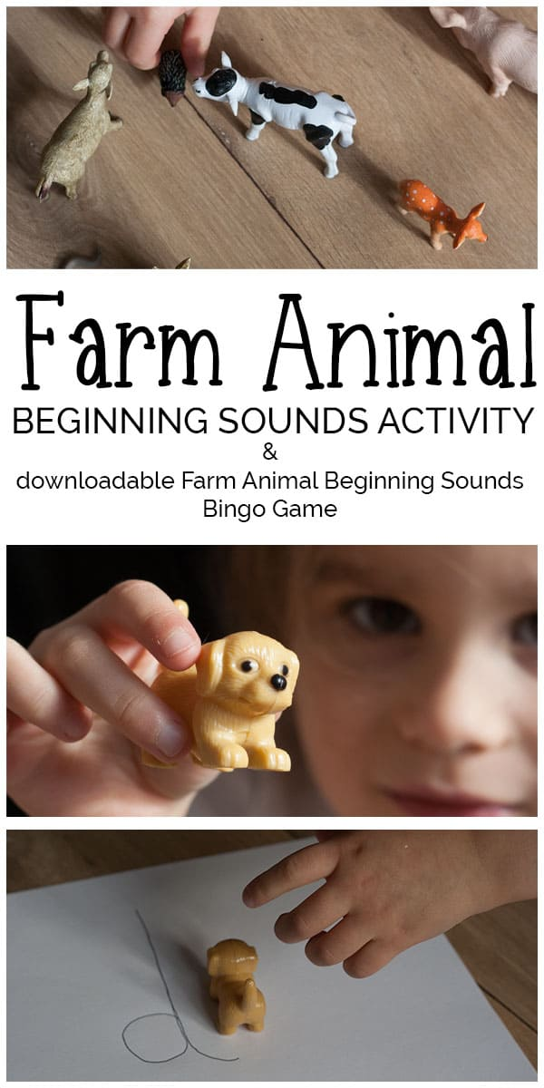 Simple and easy to set up farm animal beginning sounds activity for toddlers and preschoolers and free bingo game to play together as well.