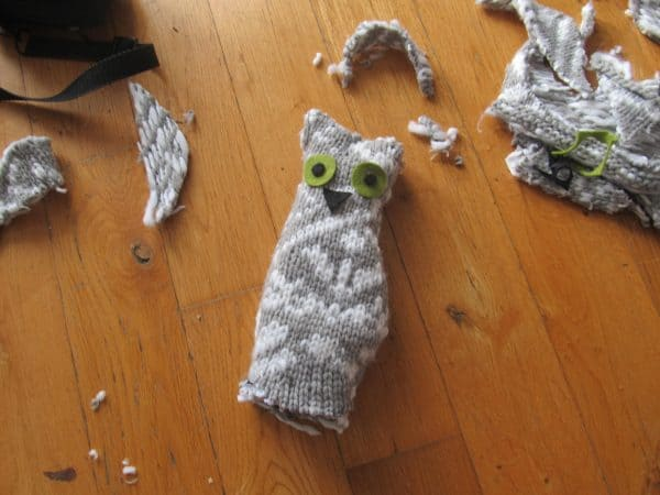 recycled sweater owl babies craft