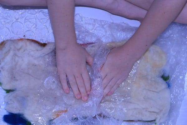 making wet felted images with children