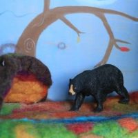 wet felted wool play mat hibernation