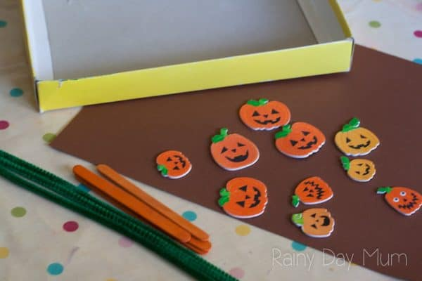 pumpkin stickers and shoe box materials to make a pumpkin game for preschoolers