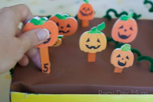 pumpkin foam stickers used to create a DIY maths game for toddlers