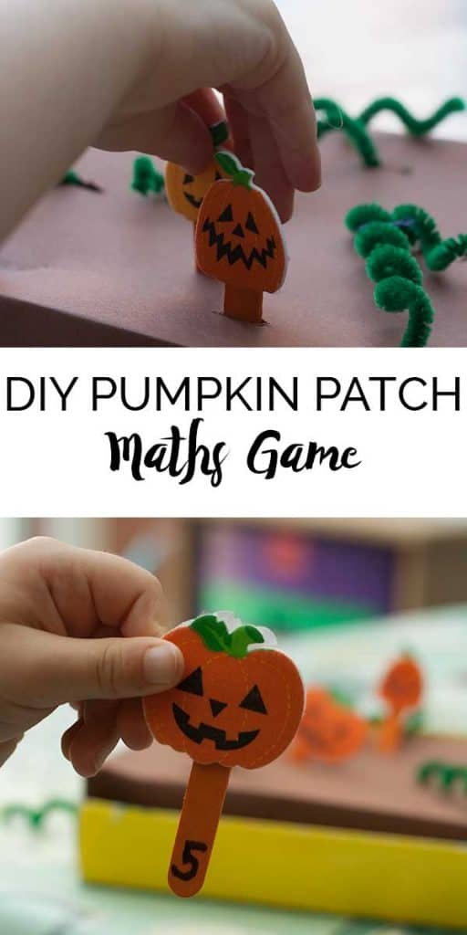pinterest image for a DIY pumpkin picking game