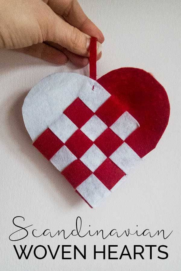 Simple Scandinavian Woven Heart Ornaments