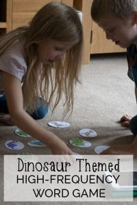 Fun download and make dinosaur themed high-frequency words game for supporting children to learn to read. Play 1 player or 2 players with full instructions.
