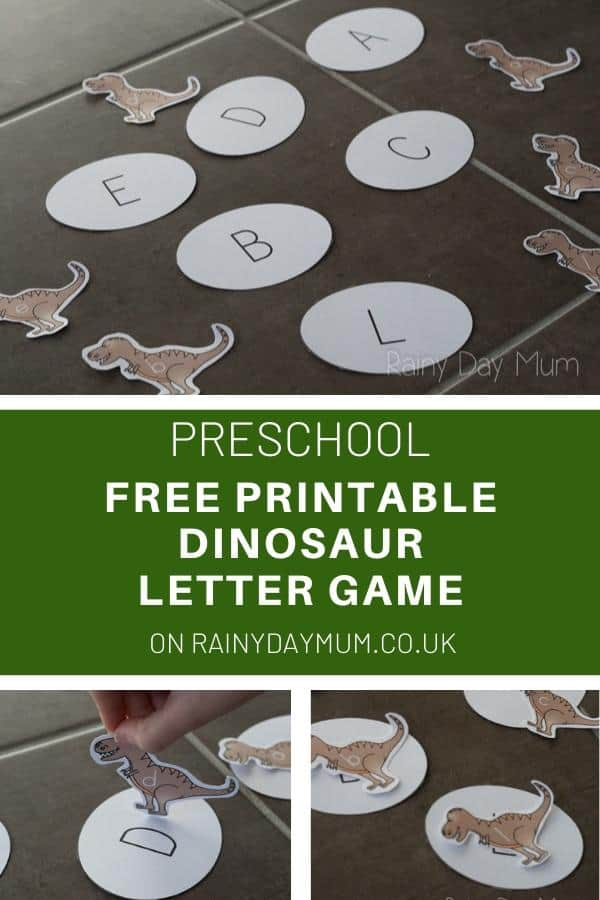 FREE Printable Dinosaur Letter Game on Rainy Day Mum