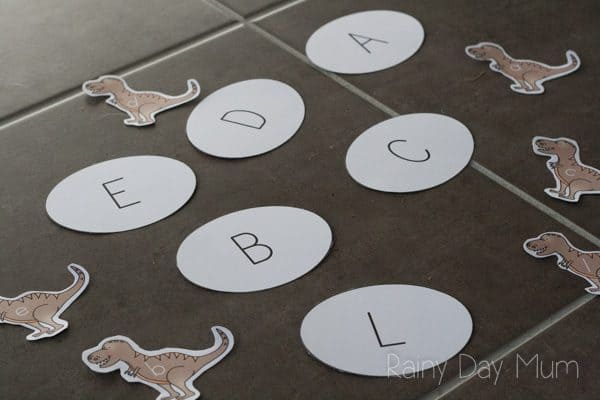 Download this dinosaur learning game to work on matching of upper and lower case letters. Find the egg that the dino baby hatched from and match them up.
