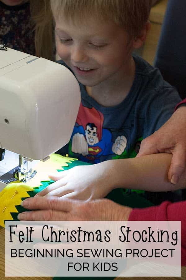 Start your kids sewing this Christmas with this simple to make Felt Christmas Stocking and ideal project for them and you to learn to make together