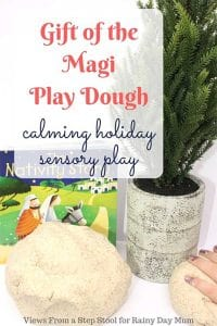 Make your own calming gift of the magi play dough with this simple recipe that you can use in connection with The Christmas Story for sensory play.
