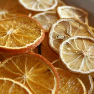 how to dry orange and lemon slices