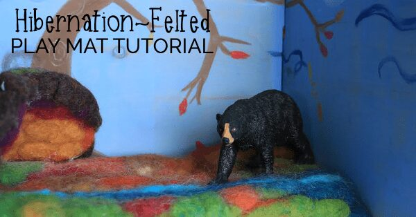 A wet felted wool play mat tutorial that kids will love! Hours of play as part of a hibernation unit. An easy to follow tutorial with step by step pics.