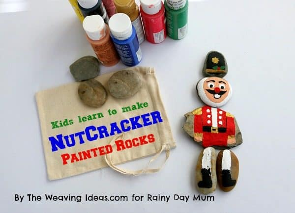 canvas bag to put the Nutcracker Puzzle Rocks in for a simple kids gift idea