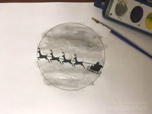 Create your own Sleigh Silhouette Watercolor painting with the kids for Christmas based on the classic Christmas Storybook Twas the Night Before Christmas