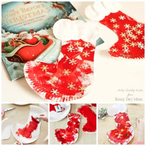 Get crafty and make this Christmas Stocking out of a Paper Plate perfect for making whilst reading Twas the Night Before Christmas and hanging your stocking