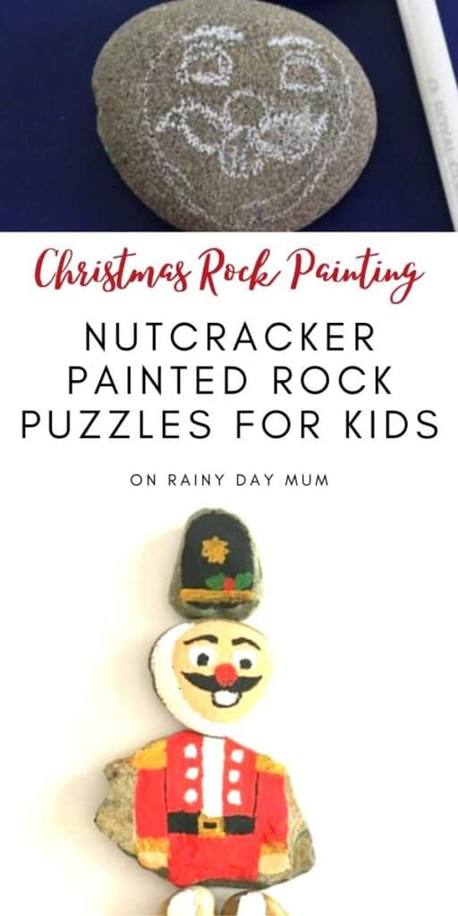 Christmas rock painting with kids to make their own DIY Nutcracker Puzzles