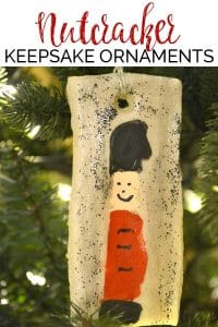 Easy Christmas Craft for kids this Fingerprint Keepsake saltdough nutcracker ornament is the perfect addition to your Christmas Tree this year