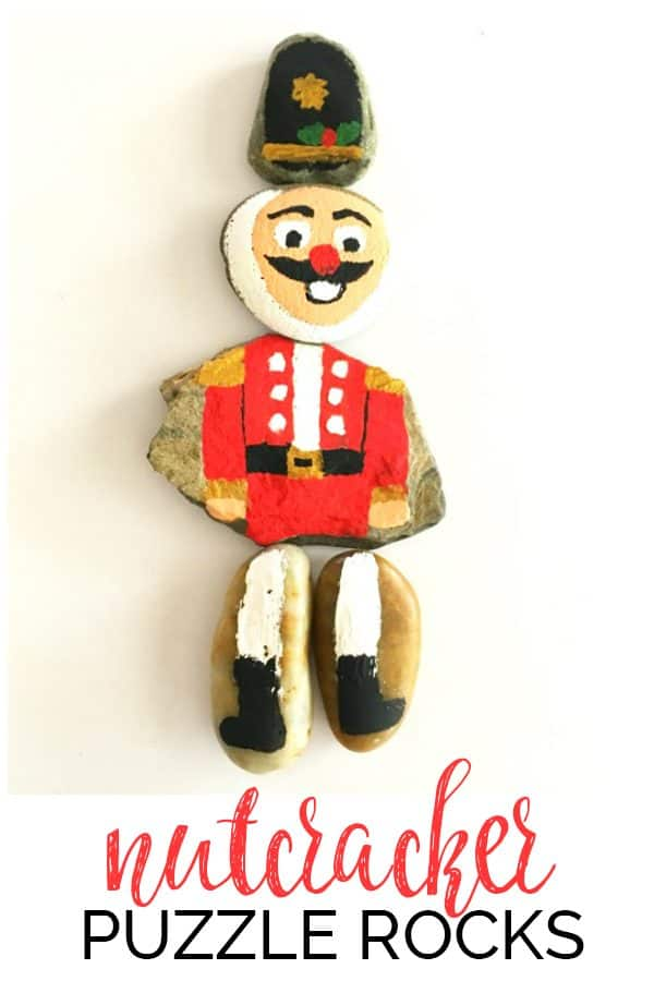 DIY Nutcracker Puzzle Painted Rock Craft for Kids to Make