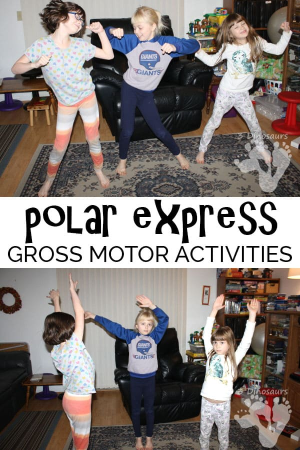 Stuck indoors then these Polar Express gross motor activities will get your kids up and moving around and working out some of that energy