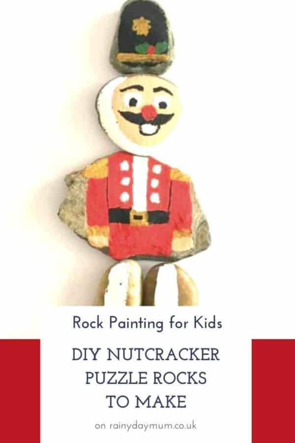 Rock painting for kids to make a DIY Puzzle Nutcracker