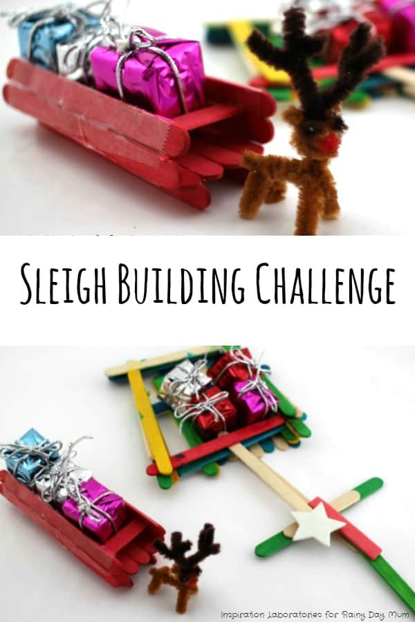Christmas Sleigh Building Challenge for kids - can they build a sleigh that will hold all of the present that Santa needs to deliver on Christmas Eve