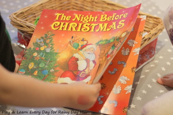 Simple Christmas Story Basket to make and use with young children based on the classic Christmas Storybook Twas the Night Before Christmas