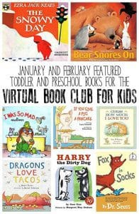 Featured Themes and Books for the popular FREE Virtual Book Club for Kids. Aimed at Toddlers and Preschoolers weekly book ideas and activities to bring them alive.