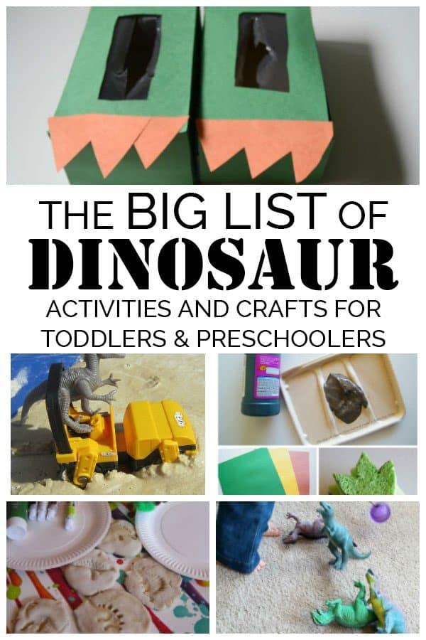 collage of some of our favourite dinosaur crafts and activities for toddlers and preschoolers