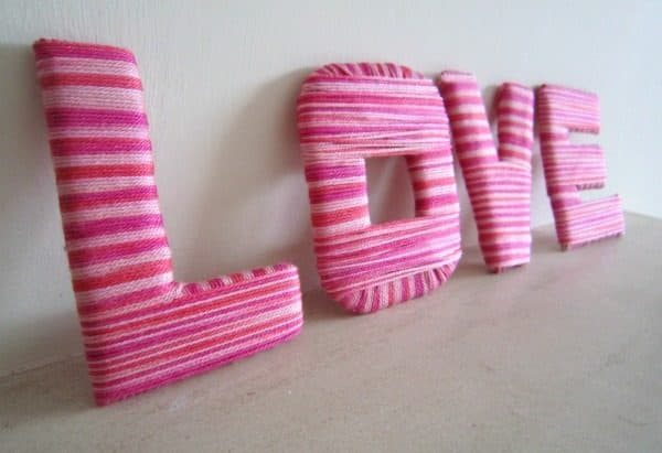 A simple craft to create beautiful DIY Yarn Wrapped Valentines Letters an ideal accessory for the home or great for a Teens bedrooms.