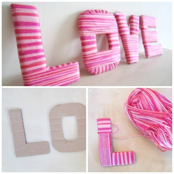 Simple yarn wrapped valentines LOVE letters