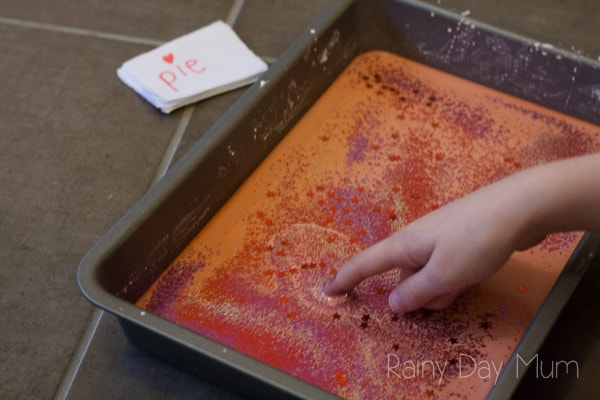Classic Oobleck Recipe - or Gloop with a Valentines Theme and some sensory spelling practice to support children at home or in school.