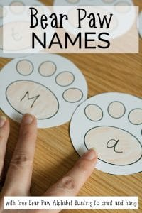Simple activity to set up for toddlers and preschoolers supporting learning of names. Based on the classic theme of Teddy Bears.