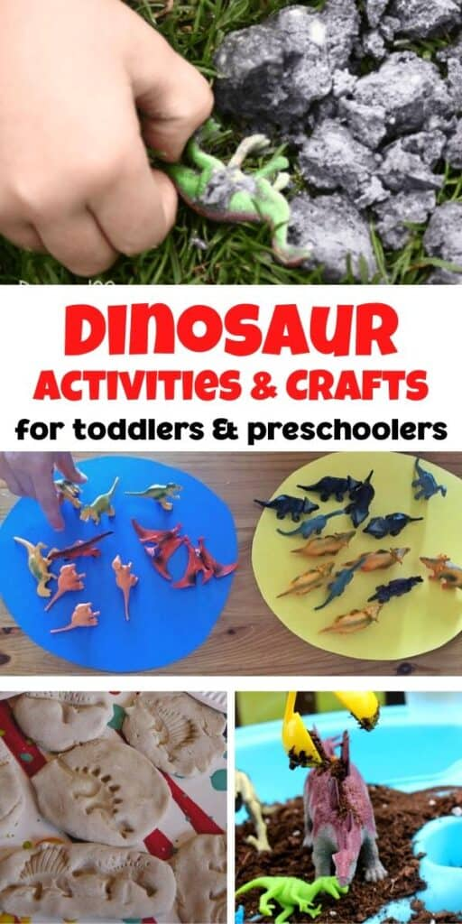collage of dinosaur activities and crafts for toddlers and preschoolers