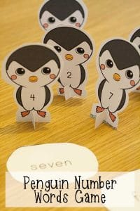Hands-on game for supporting the learning of number names with a penguin theme. Including all downloads and instructions for play.