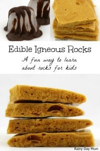 Help your children understand the formation of the different types of rocks with this simple edible igneous rock activity that they can make and eat.