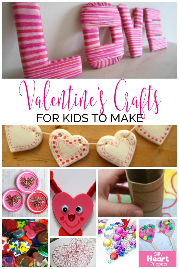 Collage of Valentine's Day Crafts for Kids