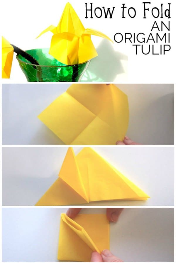 Full step by step tutorial with images on how to fold and make an origami tulip perfect for spring crafting with kids.