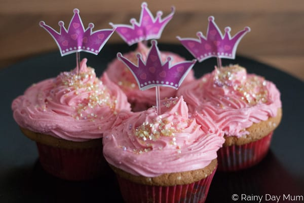 Simple to follow recipe to make princess sparkle cupcakes with a sweet pink vanilla buttercream frosting ideal for Princess Party food.