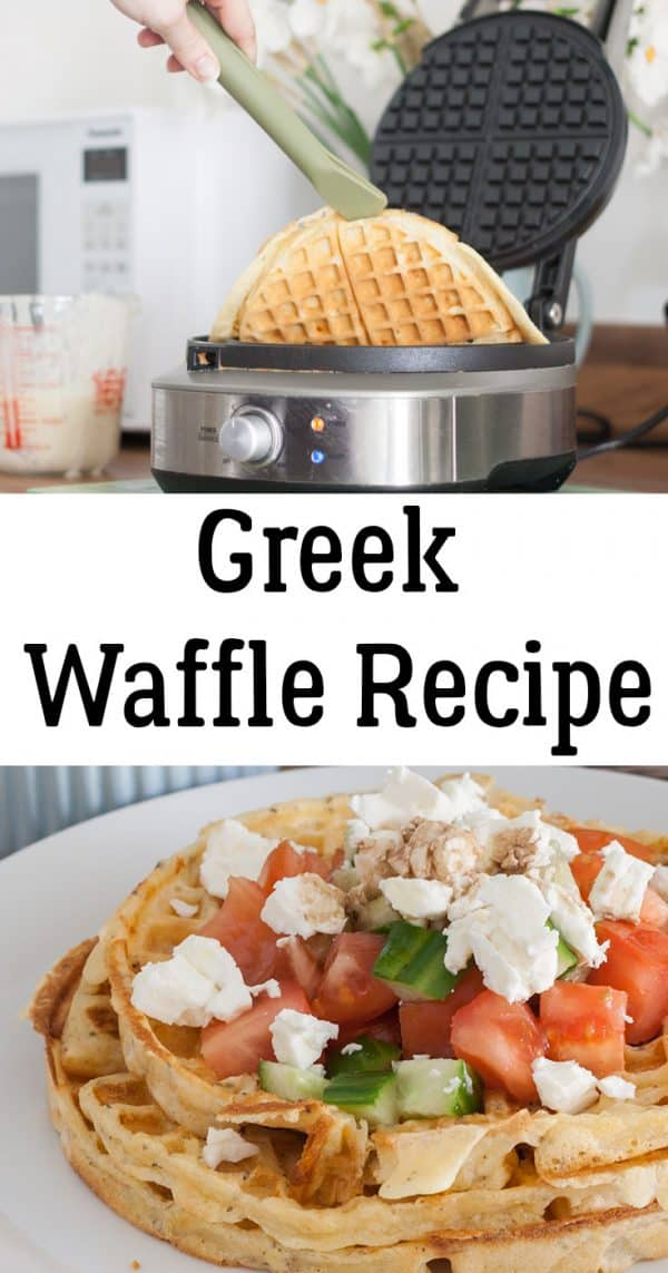 Homemade Greek Waffles, a savoury waffle recipe ideal for lunch or light family supper. With Feta cheese and a simple Greek Salad