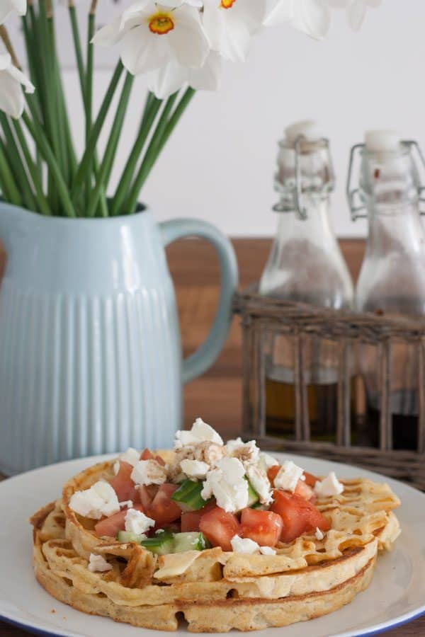 Greek Waffles - a delicious savoury waffles for lunches and brunch