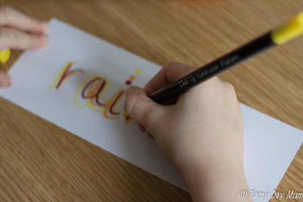 Rainbow words a simple literacy activity that can be used with children from toddler onwards. Use for pre-writing, letter formation, and spelling practice.