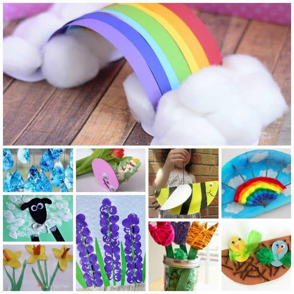 collage of spring crafts to do with toddlers and preschoolers