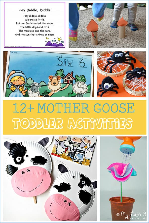 Fun and easy mother Goose and other Nursery Rhyme crafts for toddlers and you to make together with Humpty Dumpty, Hey Diddle Diddle and more…