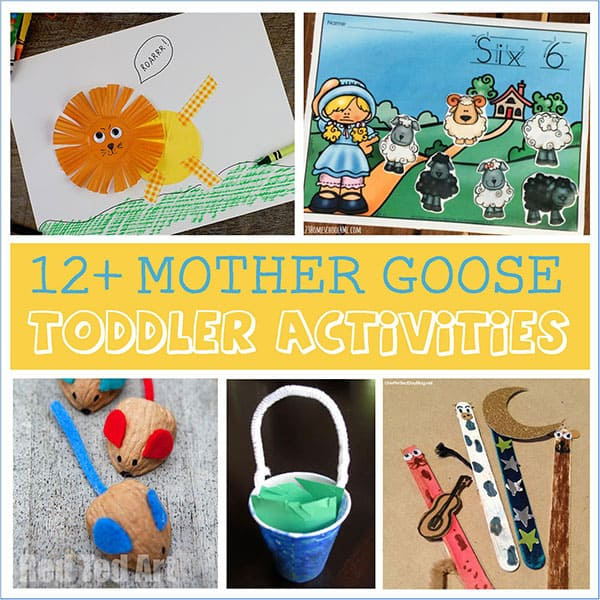 Fun and easy mother Goose and other Nursery Rhyme crafts for toddlers and you to make together with Humpty Dumpty, Hey Diddle Diddle and more...