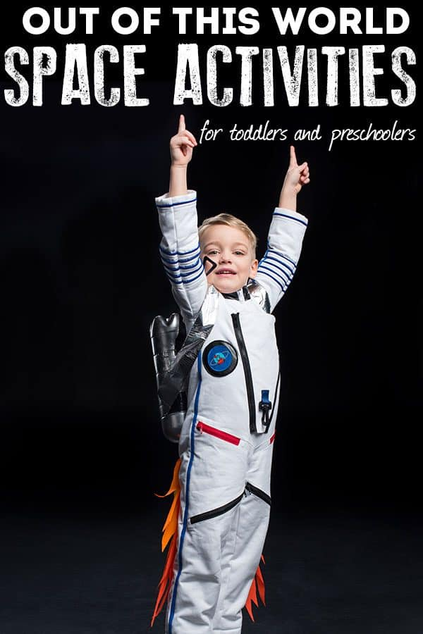space boy pointing to out of this world space activities for toddlers and preschoolers