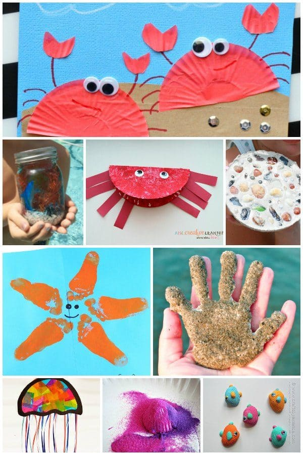 Easy Beach themed crafts for kids of all ages to do