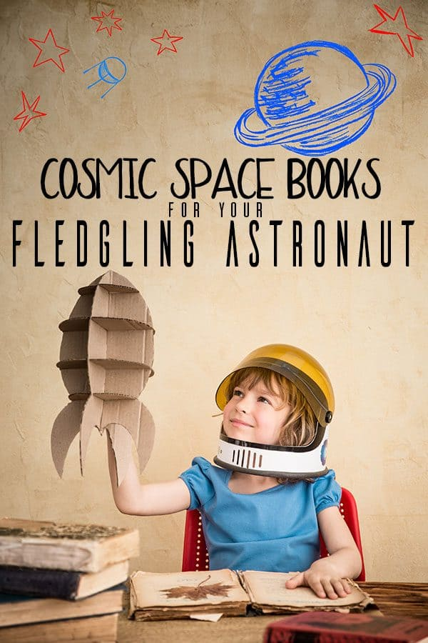 Space rocket made from cardboard and child pin image for Space Books for Toddlers and Preschoolers.