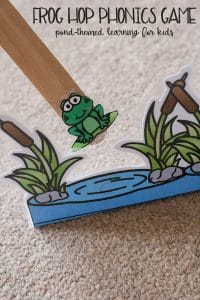 Frog Themed hopping phonics game for children learning to read. Download and print these free resources to help children to blend and read words.