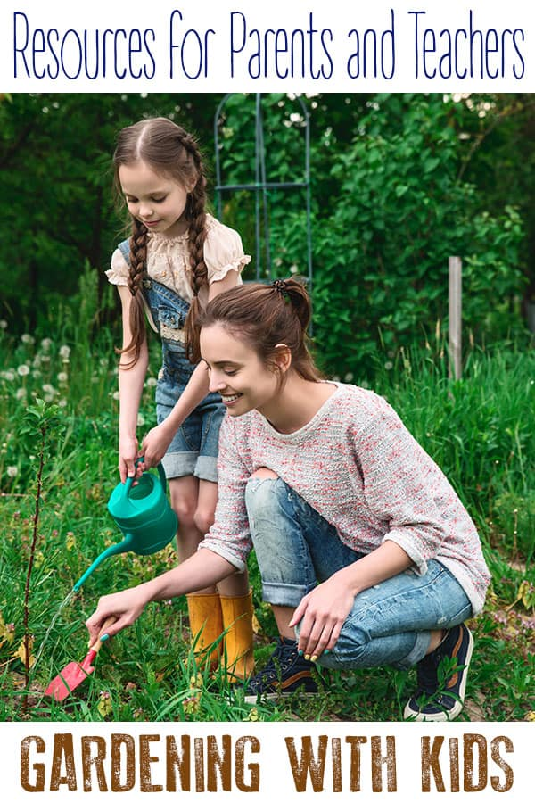 List of resources for parents and teachers on gardening with kids. With ideas of plants to grow, how to start seeds, garden crafts and learning ideas for the you to do.