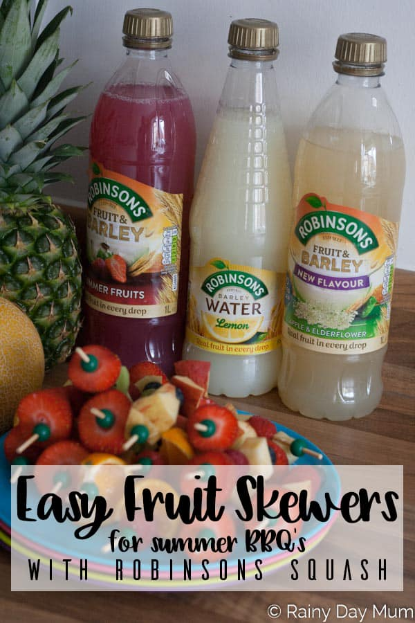 Easy Fruit Skewers ideal for summer BBQ's that are so quick that kids can make too as well as taste testing Robinson Squashes, refreshing summer drinks for your family summer parties